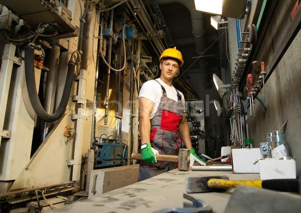 Işçi güvenlik şapka makinalar oda fabrika işçisi Stok fotoğraf © Nejron