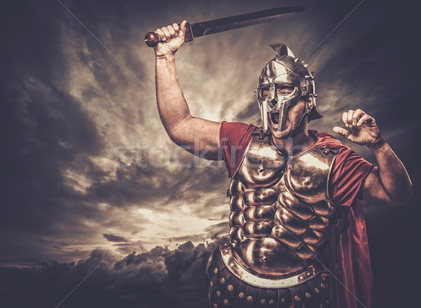 Stok fotoğraf: Asker · fırtınalı · gökyüzü · adam · savaş · kırmızı