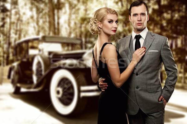 Stock fotó: Retro · pár · régi · autó · szeretet · üzletember · öltöny