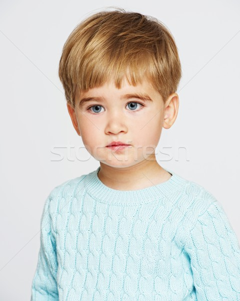 Pensive baby boy in blue pullover  Stock photo © Nejron