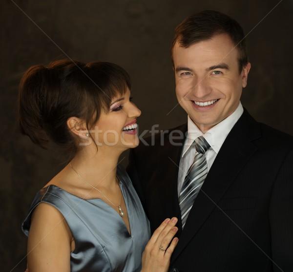 Jonge glimlachend man vrouw avondkleding mode Stockfoto © Nejron