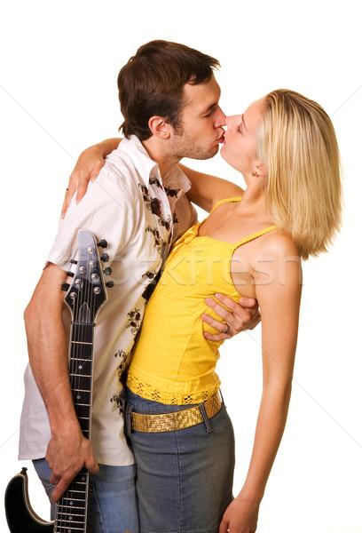 ストックフォト: 愛 · 孤立した · 白 · 音楽 · 少女