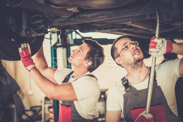 Suspension voiture atelier travaux technologie industrie Photo stock © Nejron