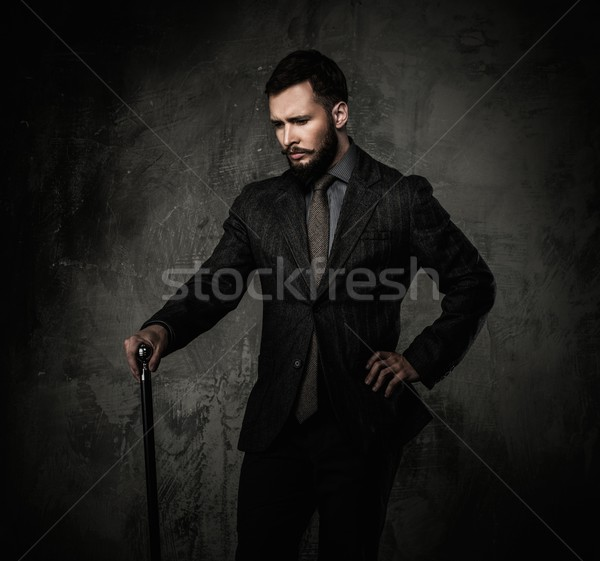 Handsome well-dressed with walking stick  Stock photo © Nejron