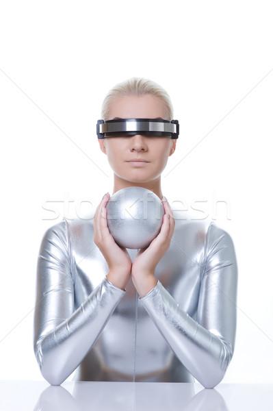 Güzel kadın gümüş top moda dizayn Stok fotoğraf © Nejron