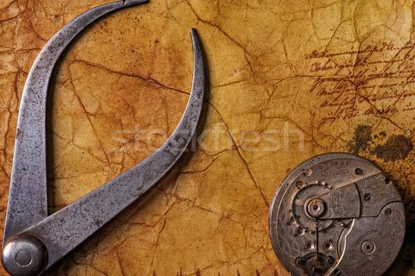 Antieke tang versnellingen oude papier Stockfoto © Nejron