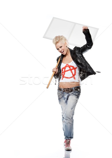 ストックフォト: パンク · 少女 · 女性 · 塗料 · 岩
