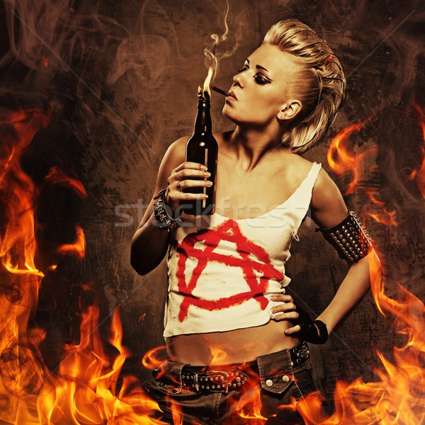 Stockfoto: Punk · meisje · roken · sigaret · brand · vrouw