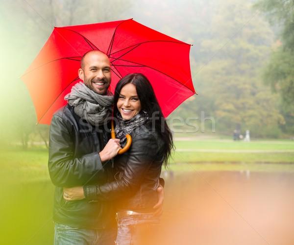 幸せ カップル 傘 屋外 美しい ストックフォト © Nejron