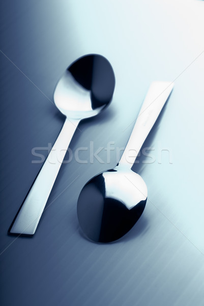 Two teaspoons toned in blue Stock photo © Nejron