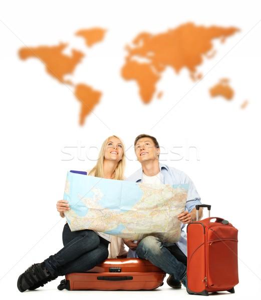 Foto stock: Sonriendo · hermosa · mapa · sesión · maleta