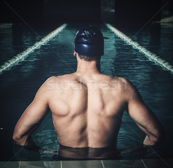 Musculaire piscine homme papillon bleu Photo stock © Nejron