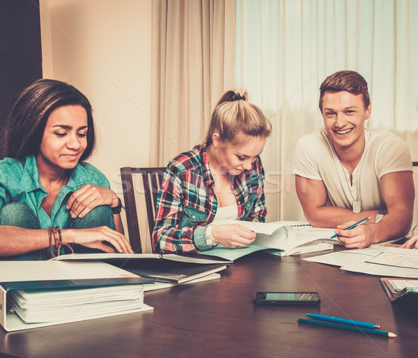 Multi ethnic group of students preparing for exams in home interior behind table  Stock photo © Nejron