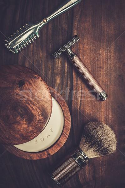 Luxe houten gezicht haren achtergrond Stockfoto © Nejron