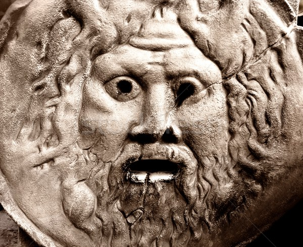 Oude sculptuur gezicht muur ogen ontwerp Stockfoto © Nejron