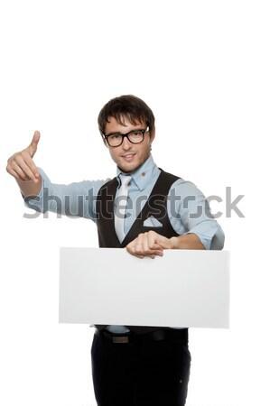 Fiatal divatos férfi üres tábla divat szemüveg Stock fotó © Nejron