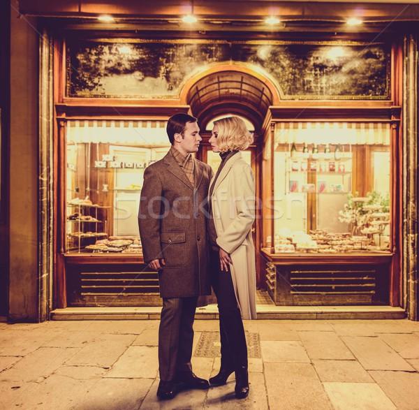 элегантный пару хлебобулочные магазин окна улице Сток-фото © Nejron