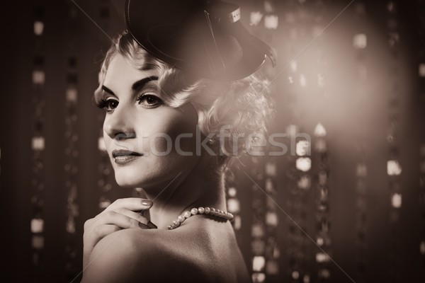 Toned picture of  elegant blond retro woman   wearing little hat  Stock photo © Nejron