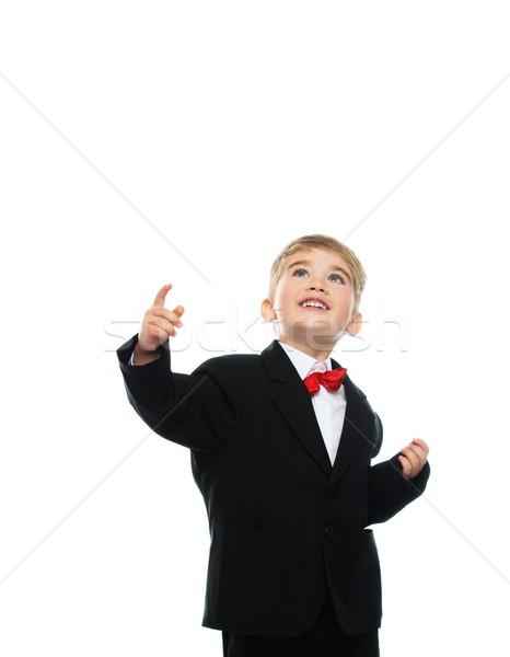Küçük erkek siyah takım elbise yalıtılmış beyaz yüz Stok fotoğraf © Nejron