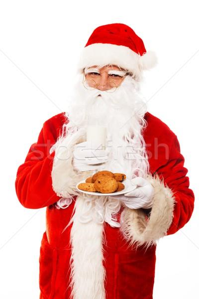 Stockfoto: Kerstman · cookies · glas · melk · geïsoleerd