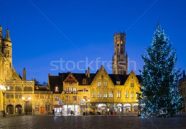 árvore de natal praça Bélgica casa edifício Foto stock © Nejron
