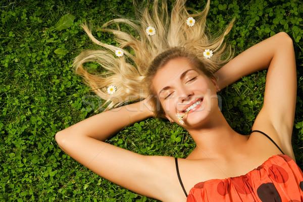 красивой расслабляющая луговой улыбка трава Сток-фото © Nejron