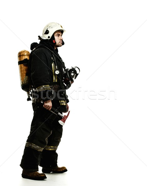 Firefighter with oxygen balloon isolated on white  Stock photo © Nejron