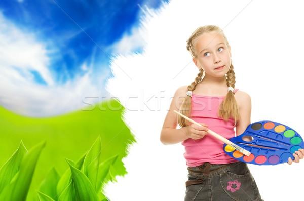 Beautiful little girl painting nature lanscape Stock photo © Nejron