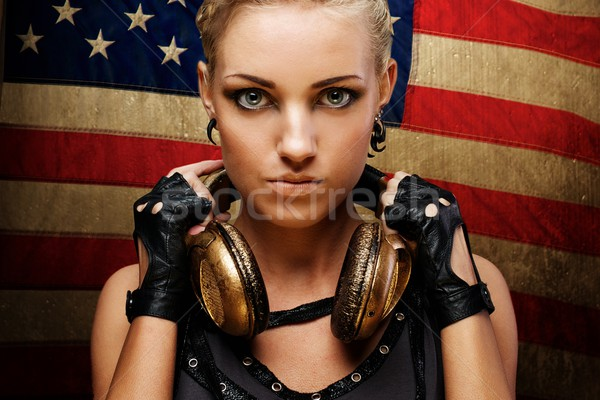 Steam punk girl against american flag. Stock photo © Nejron