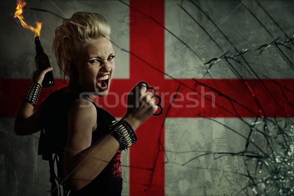 Punk nina Inglaterra bandera vidrio fondo Foto stock © Nejron
