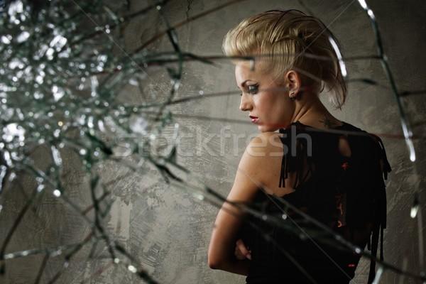 Punk lány mögött törött üveg arc festék Stock fotó © Nejron