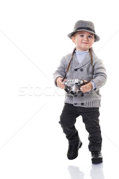 Baby boy with retro camera. Stock photo © Nejron