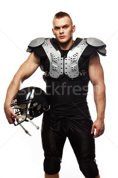Amerikaanse voetballer helm pantser sport bal Stockfoto © Nejron