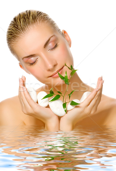 Beautiful womanl holding young plant growing up through stones r Stock photo © Nejron