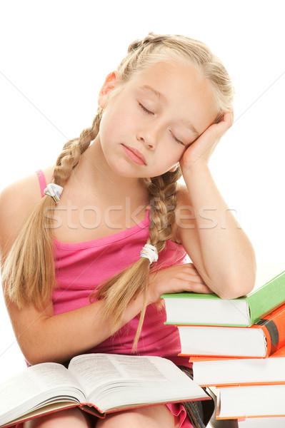 Little schoolgirl fall asleep after reading a book   Stock photo © Nejron