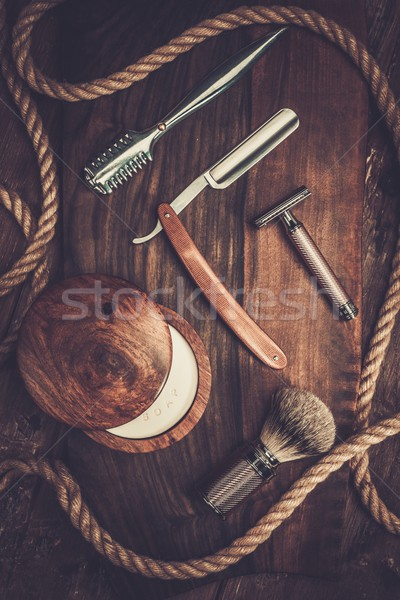 Shaving accessories on a luxury wooden background  Stock photo © Nejron