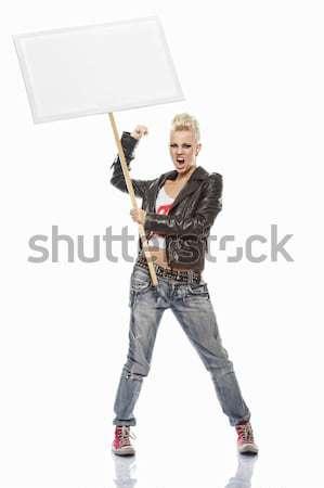 Punk nina blanco signo mujer cara Foto stock © Nejron