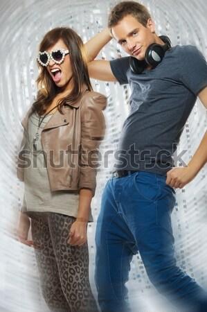 Stijlvol paar nachtclub vrouw muziek meisje Stockfoto © Nejron