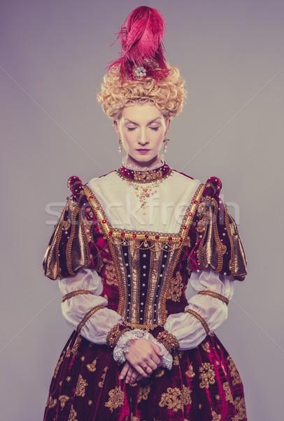 Stock fotó: Királynő · királyi · ruha · izolált · szürke · erő