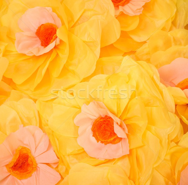 Handmade big yellow paper flowers background  Stock photo © Nejron