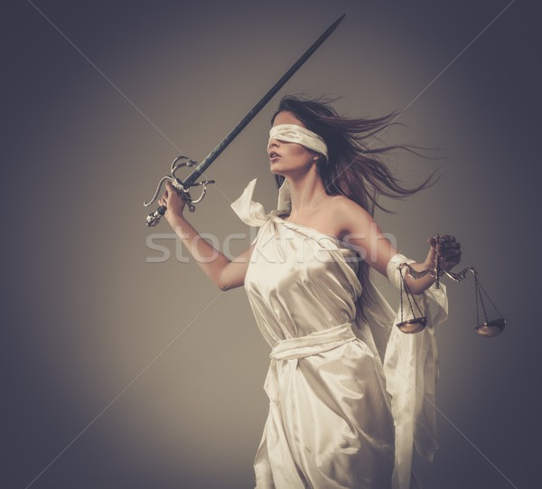 Femida, Goddess of Justice, with scales and sword wearing blindfold  Stock photo © Nejron
