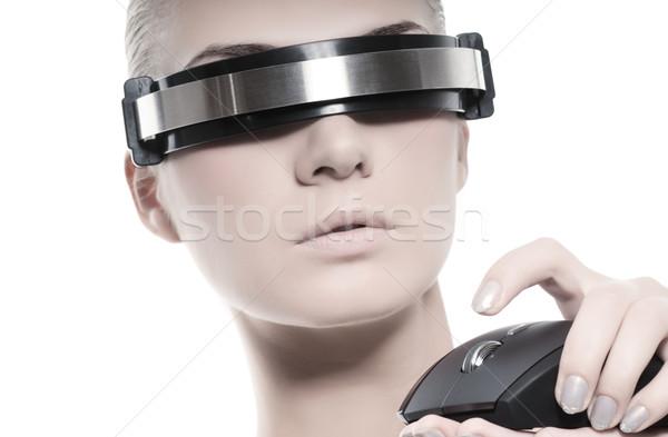 красивой женщину компьютер мыши изолированный белый назад Сток-фото © Nejron