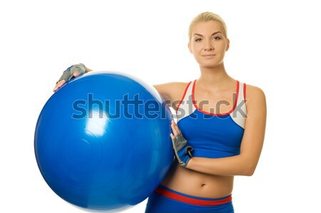 Beautiful fitness trainer with a ball Stock photo © Nejron