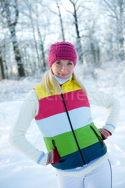 Frozen beautiful woman in winter clothing outdoors    Stock photo © Nejron