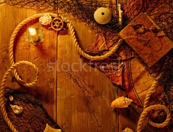 Mar mesa de madeira mundo tabela óculos bússola Foto stock © Nejron