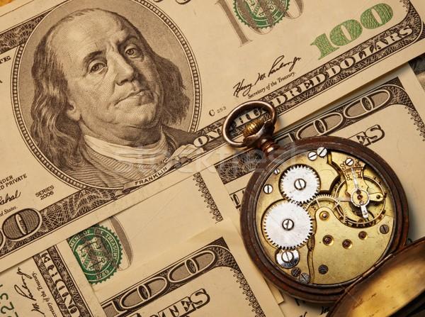 Il tempo è denaro soldi carta clock abstract retro Foto d'archivio © Nejron