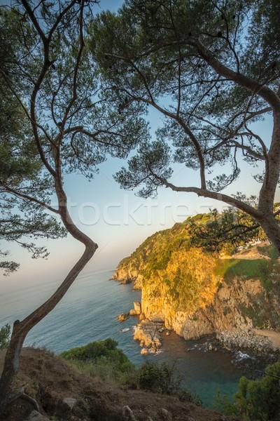 Sunlight upon rocks of beautiful lagoon Stock photo © Nejron