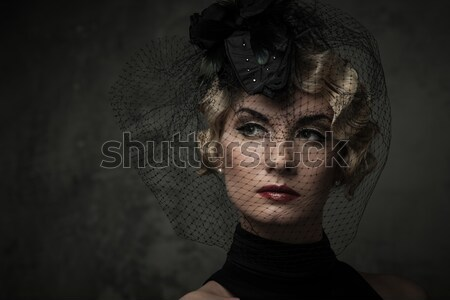 Elegant blond retro woman  with red lipstick wearing little hat with veil  Stock photo © Nejron