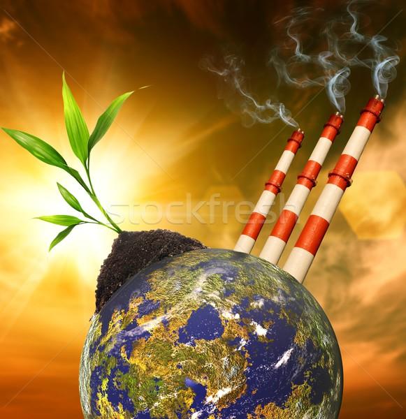 Blauwe hemel pluizig wolken planeet verontreiniging ontwerp Stockfoto © Nejron