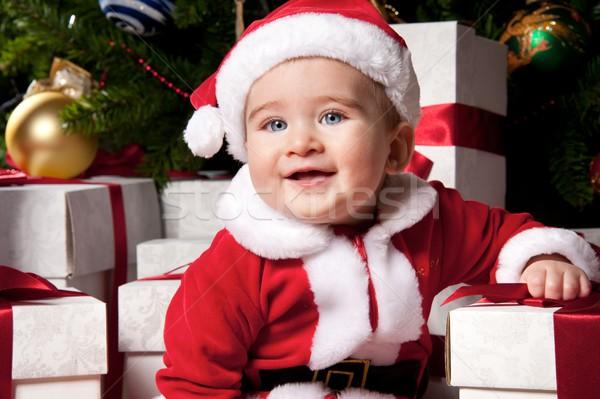 Küçük erkek hediye kutuları yüz gözler çocuk Stok fotoğraf © Nejron